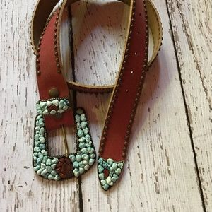 Leather Belt Turquoise with Colored Stones L